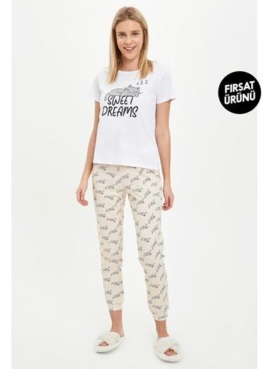 DeFacto Baskılı Pijama Takımı Oranj